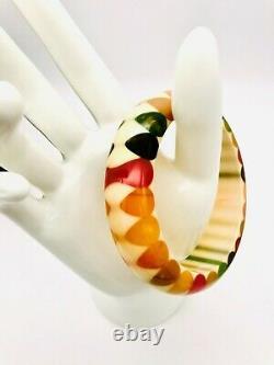 Ultra Rare Vintage BAKELITE Multicolor Bowtie Bangle Bracelet Stunning Tested
