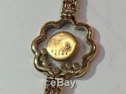 Ultra Rare Vintage CHOPARD Ref. 4066 FLORAL HAPPY DIAMONDS 18K Y/Gold Watch! A++