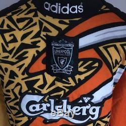 Ultra Rare Vintage Retro Adidas Liverpool Goalkeeper Shirt 1995-96 Medium