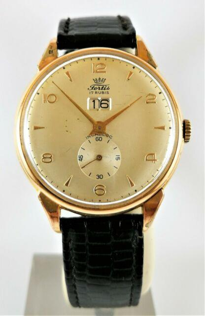 Ultra Rare Vintage Swiss Watch Fortis Day Date 14k Gold Circa 1955