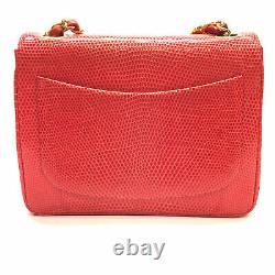 Ultra Rare Vintage vivid red lizard Chanel Mini Flap bag withgold hw
