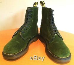 VINTAGE 1980s ULTRA RARE GREEN VELVET DR MARTENS 1460 DOCS SIZE 4 BOOTS ENGLAND