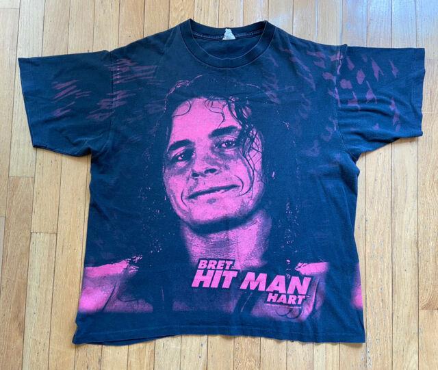 Vintage 90s Wwf Bret Hit Man Hart Official Wwf Shirt Xl Ultra Rare Single Stitch