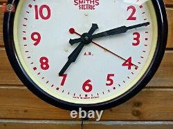 VINTAGE ELECTRIC SMITHS SECTRIC RED FACED RAILWAY CLOCK. Restored Ultra Rare