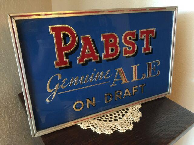 Vintage 1930s Pabst Blue Ribbon Beer & Ale On Draft R. Price Sign Ultra Rare Pbr