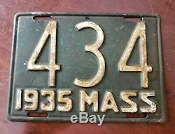 Vintage 1935 Massachusetts Motorcycle License Plate (DEPRESSION ULTRA RARE)