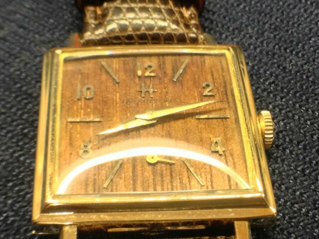 Vintage 1961 Hamilton 14k Gold Sherwood M Wood Dial Men's Wrist Watch Ultra Rare