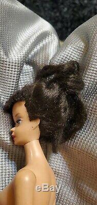 Vintage #3 Barbie Doll Brunette Ponytail with ultra rare Blue Eyeliner