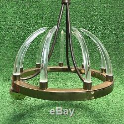 Vintage Brass Swag Light Chandelier Acrylic Horn Disco Ball Spikes Ultra Rare