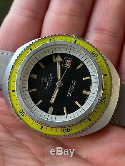 Vintage Diver Sub Bakelite Yellow Bezel 43mm Favre Leuba Deep Blue Ultra Rare