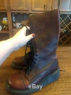 Vintage Doc Martens Black-washed Burgundy Tall Boots size 7-7.5, UK 5 ULTRA RARE