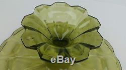 Vintage Fenton Glass Colonial Green Valencia Cake Plate Stand Ultra Rare EUC