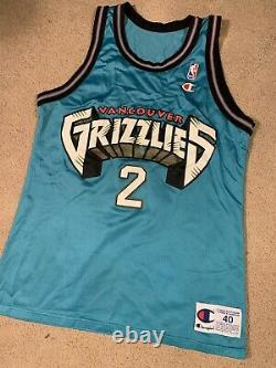 Vintage Greg Anthony jersey Champion 40 Vancouver Grizzlies Ultra Rare #2 Teal