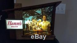 Vintage Hamm's Rustic Negro Lighted Beer Sign Cabin Style Bar ULTRA RARE
