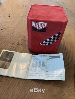 Vintage Heuer Silverstone Uhrenbox Scatola Boîte Case Etui um 1970 Ultra Rare