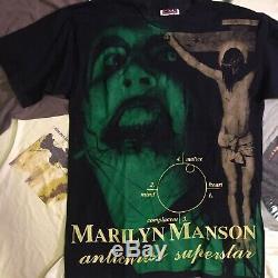 Vintage MARILYN MANSON t Shirt Size XL 1997 Bootleg vtg metal 90s ULTRA RARE