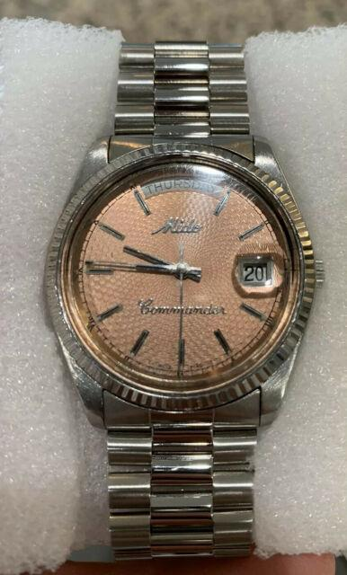 Vintage Mido Commander Day Date Salmon Dial Ultra Rare Quickset