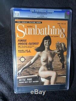 Vintage Modern Sunbathing Magazine. April 1956. Ultra RARE Bettie Page Cover