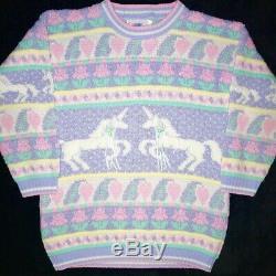 Vintage Pastel Unicorn Sweater Heartworks Sparkle 80s 90s Adele Ultra Rare
