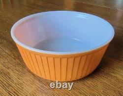 Vintage Pyrex Ultra Rare HTF Muted Orange Ribbed Souffle Dish 7.5 Diameter