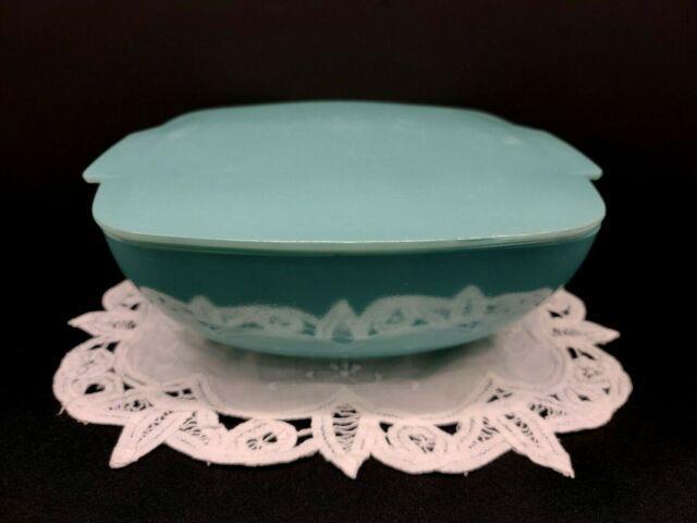 Vintage Pyrex Ultra Rare Prototype Turquoise Blue #025 Hostess Bowl Set With Lid