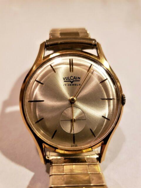 Vintage Rare Vulcain Mens Ultra Thin Slim 17 Jewel Wristwatch Watch Running