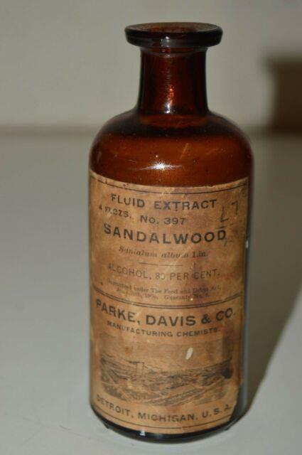 Vintage Sandalwood Essential Oil Perfume Parke Davis Co Glass Bottle Ultra Rare
