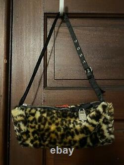 Vintage Tripp Nyc Fuzzy Leopard Faux Fur Bag Purse Ultra Rare