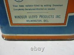 Vintage Ultra RARE 1934 SNOWMAN 2 gallon ANTI FREEZE can denatured ALCOHOL oil