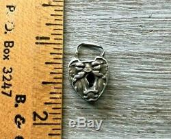 Vtg Ultra Rare North Wind Padlock Clasp W Key Sterling Silver Puffy Heart Charm