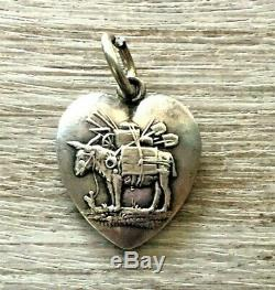 Vtg Ultra Rare Victorian Farm Pack Mule Donkey Sterling Silver Puffy Heart Charm