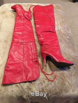 WILD PAIR Ultra Rare 80s Vintage Leather Thigh High Over The Knee Crotch Boots